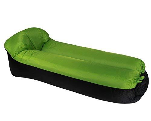 ETiME Wasserdichtes Aufblasbares Sofa mit integriertem Kissen Portable Liege Grün-Schwarz Tragbarer aufblasbarer Sitzsack Lounger Luftsofa Couch (Normal Grün-Schwarz)
