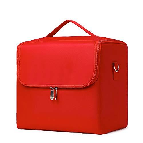 YXMJ Kosmetiktasche Groß, Reise Schminktasche Tragbare Makeup Tasche Kosmetikbeutel Make up Pinsel Organizer Tragegriff und Zip, Red (Make-up Tasche Organizer Flugzeug)