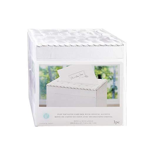 Bulk Buy: Darice DIY Handwerk Satin Flip Top Hochzeit Karte Box Mit Kristalle weiß (2er Pack) vl8132722F
