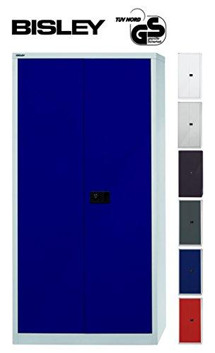 BISLEY Garderobenschrank abschließbar in grau blau Metallschrank Stahlschrank Werkzeugschrank Blechschrank Schrank Büroschrank H 195 x B 91 x T 40 cm | Lichtgrau/Oxfordblau (Geprüft Blauen Kleid)