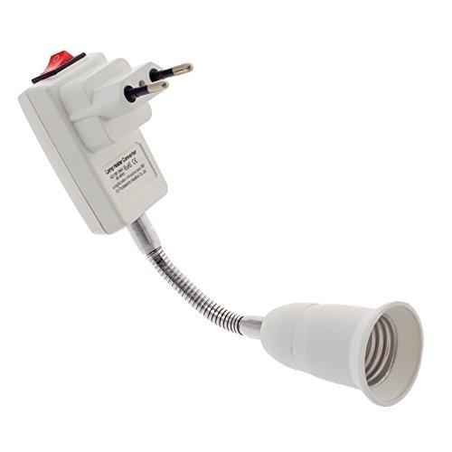 Smartfox E27 Lampenfassung mit Schalter Flexibel Steckdose Lampenfuß Wandleuchte Wandlampe Nachtlicht Arbeitsleuchte