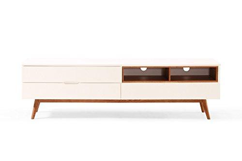Meuble TV Design Scandinave blanc et bois Dewarens Lema