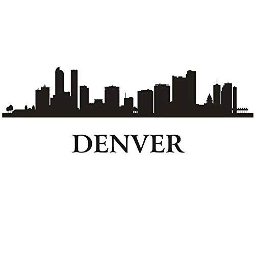 zlhcich Denver Stadt Aufkleber Wahrzeichen Skyline Wandaufkleber Skizze Abziehbilder Poster Parede Wohnkultur Aufkleber 36 * 105 cm