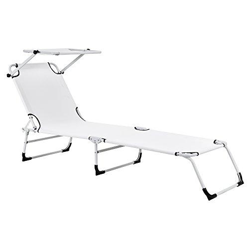 [casa.pro]] Sonnenliege klappbar mit Dach weiß - 190cm Liege aus Stahl - Verwendung als Relaxliege,...