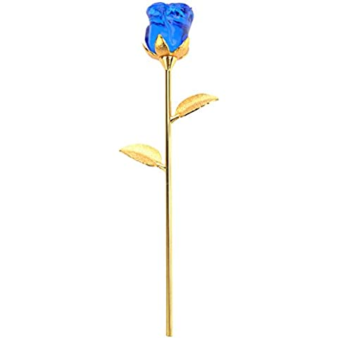 LEORX Regalo de San Valentín romántico flor de rosa de cristal - talla L (azul)