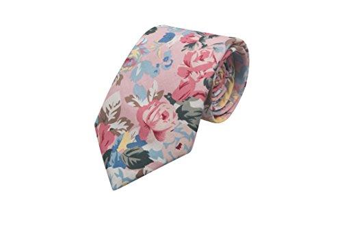 Notch Krawatte aus Baumwolle für Herren - Blumen in Pastellfarben auf hellem Rosa