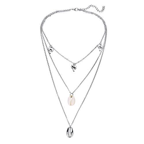 Persönlichkeit Einfache Mehrschichtige Perlen Shell Kokospalme Metall Halskette Damen Schmuck Sommer Strand Wind Einfache Metall Shell Kokospalme Mehrschichtige Muschel Halskette (Silber) - Von Lebensdauer Dvd-filmen