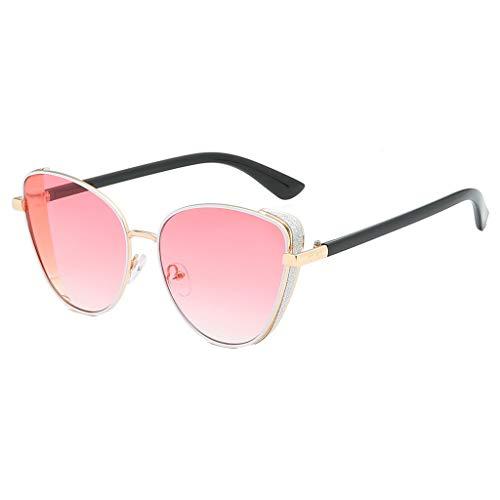 fazry Cat Eye Brille Damen Fashion Shade Sonnenbrille Integrierte Streifen Vintage Brille Gr. Einheitsgröße, rose