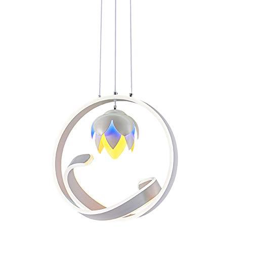 AQUYY LED-Kronleuchter Mit Modernem, Kreativem Design, Dreifarbiges Licht (blau, Warm, Lila), Schmiedeeiserner Einzelkopf-Restaurant-Kronleuchter, Wohnzimmer-Bar, Café-Kronleuchter -