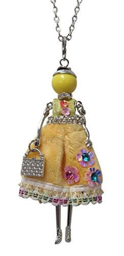 Halskette Anhänger elegante Puppe Kleid Gelb Dominant und Blumen.