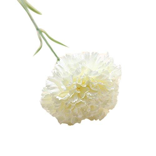 Sonnena 44cm Künstliche Tuch gefälschte Blumen Blatt Nelken Kunstblume Blumenstrauß Blumen-Bouquet Bridal Bouquet Blume Hochzeit Home Party Dekoration 1 Stück Bouquet (Weiß)