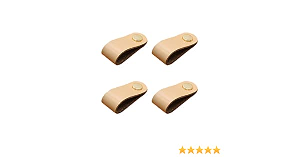 Bledyi Lot de 4 poign/ées de tiroir et de placard en cuir Dor/é