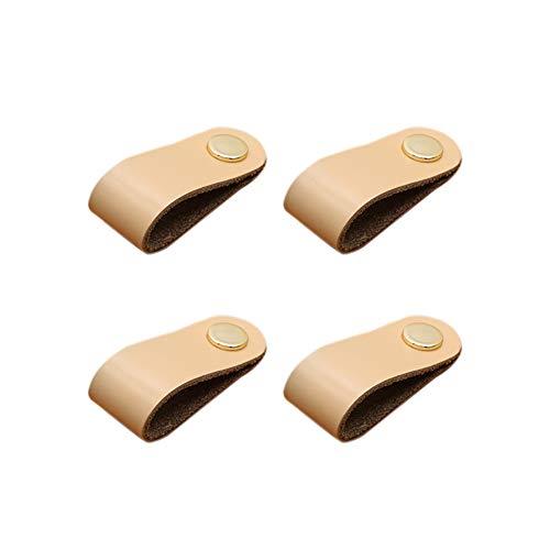 TREESTAR 4PCS Vintage Leder Behandeln Schrankgriff Zinklegierung Türgriffe Schrank Schublade Stoßgriff Griff für Küche Badezimmer Schlafzimmer