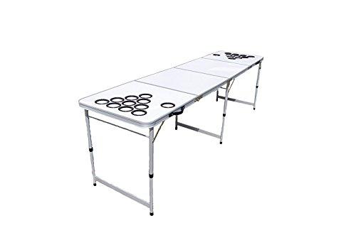 *My Beer Pong Beer Pong Tisch zum selbst gestalten / Individualisieren inkl. 6 Bälle und Anti-Umkipp Funktion Weiß Gr. 244 x 61 x 76 cm*