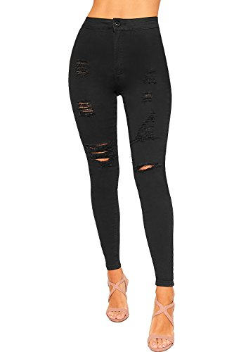 WearAll Women's Extreme Rip Distressed Skinny Leg High Waisted Denim Jeans Ladies Pants 6-16