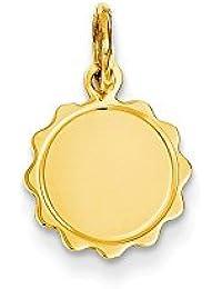 Diamond2deal - Colgante de Oro Amarillo de 14 Quilates, Calibre 009, grabable, diseño de Disco Festoneado