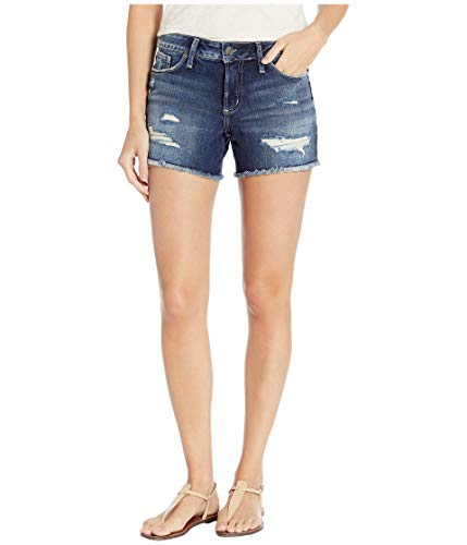 Silver Jeans Co. Damen Suki Curvy Fit Mid Rise Shorts Jeansshorts, Dark Destroyed Wash, 28W x 4L (Silver Jeans Damen Suki)
