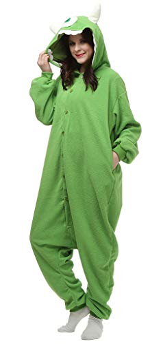 auguswu Anime Unisex Kostüm Mike Onesie Erwachsene Grün Gr. L, grün