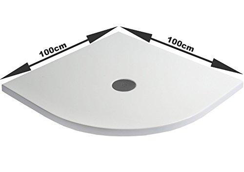 Brausetasse PAROS superflach 100x100x4 cm inkl. Siphon Duschwanne rund Eckdusche flach