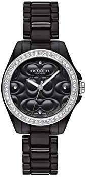 ساعة سيراميك سوداء بمينا اسود للنساء من كوتش، طراز 14503255