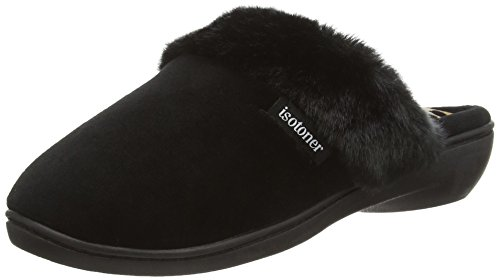 isotoner-heeled-velour-with-fur-cuff-women-open-back-slippers-multicolor-black-panther-6-uk-39-eu