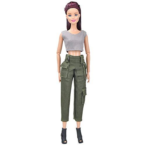 Set Kurzer Arm (XuBa Graue Weste + Armee grün kurze Hose Anzug Kleidung Set für 29cm Puppe)