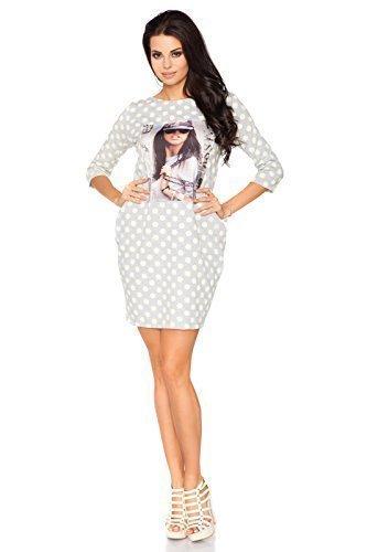 Futuro Fashion Damen Vintage Mini Baumwollkleid Charakter Aufdruck  Gepunktet U-boot-ausschnitt 3/