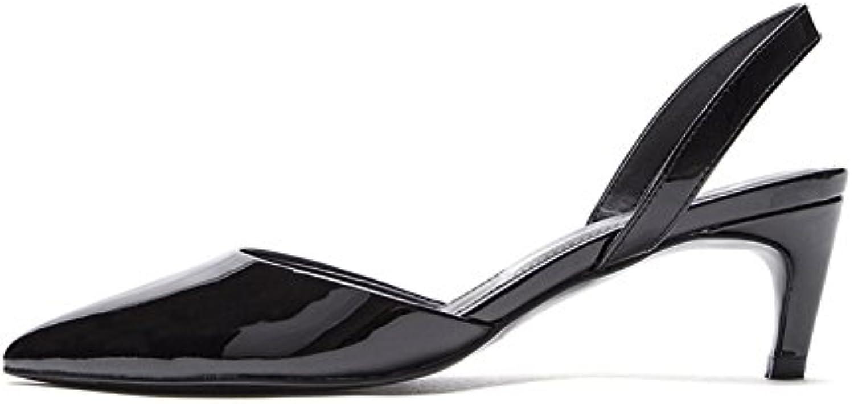 WYYY Damenschuhe High Heels Helles Gesicht Gut mit Flacher Mund Spitze Freizeitschuhe 6 cm (Farbe : Black Größeö