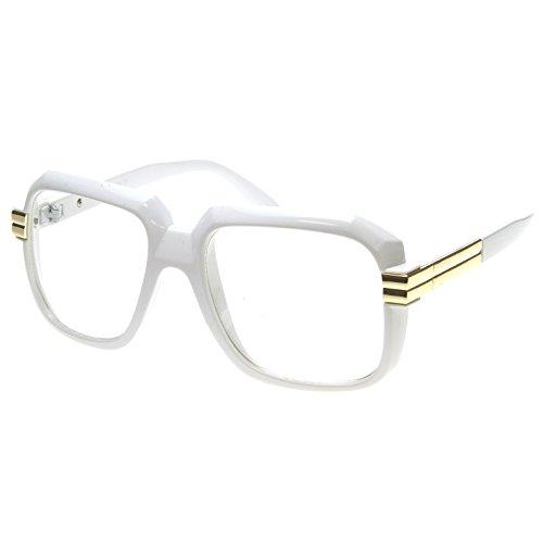 ZeroUV-Grande Colore rivestimento quadrato Oversize Run DMC lenti trasparenti Occhiali White Taglia unica