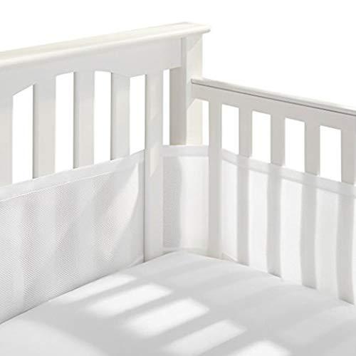 HOMYY Nestchen, 4 Seiten, Stoffumrandung für Kinderbettchen, Baby Breathable Mesh Crib Liner Bettwäsche Stoßstange, waschbar(Weiß) - Weiße Stoßstange Bettwäsche Kinderbett