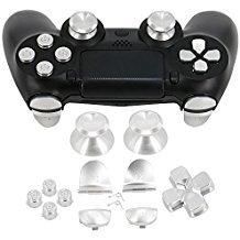 YTTL Metallknöpfe für PS4-Controller, Metall-Triggertasten für Playstation 4 DualShock 4 PS4 Controller - Silber