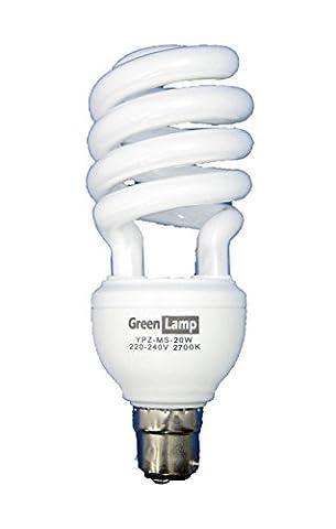 Green Lamp YPZ-US-20W B22 20 Watt 2700k Compact Fluorescent Light Energy Saving Bulb, Warm White