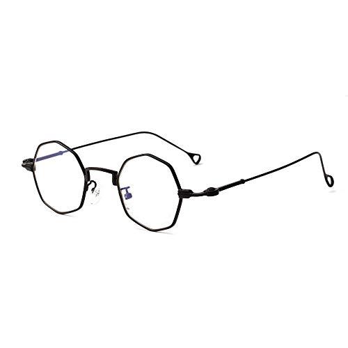 BAACHANG Personalisierte Metall Polygonal Rahmen Brillen Klarglas Brillen (Farbe : Black Flat)