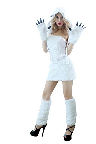 Tier Kostüm Eisbär Kostüm 5 tlg. Erwachsene Fasching -