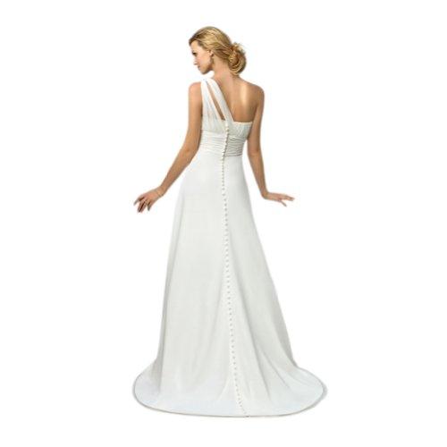 GEORGE BRIDE Elegantes Schulter Sweep Zug wulstige Brautkleider Hochzeitskleider Elfenbein