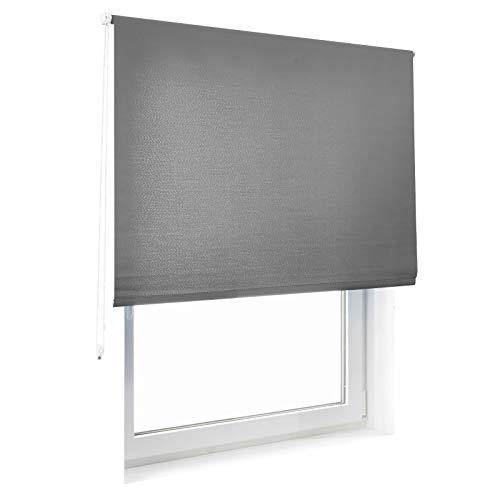 casa pura® Sichtschutzrollo - lichtdurchlässig - für breite Fenster | Grau | 80x230cm