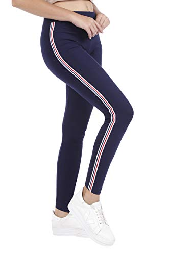 TRASA Cotton Lycra Women's and Girl's Yoga Pant, Sports Pant, Workout Pant Leggings, Navy Blue Strip(Brand Outlet) - Size : - XX-Large