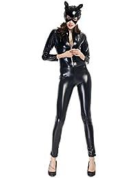 Qincos Disfraz de Gato para Mujer Mono de Cuero Catsuit con Máscara para Halloween Carnaval