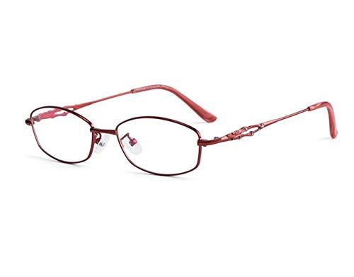 JSHFD Lesebrille Diamond Frame Reader Qualität Mode Damen Brille Anti-Müdigkeit Frauen (Color : Red, Size : 0.75)