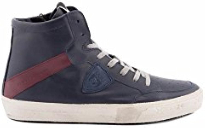 Philippe Model Herren KNHUVX04 Blau/Bordeauxrot Leder Hi Top Sneakers