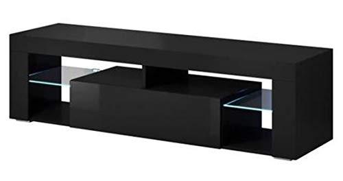 PEGANE Meuble TV avec éclairage LED, Coloris Noir/Noir Brillant - Dim : 160 x 35 x 55 cm