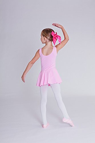 white tanzmuster skirted ballet leotard Nora for girls hot pink and purple in pink black light blue wide straps made of very soft and durable cotton blend