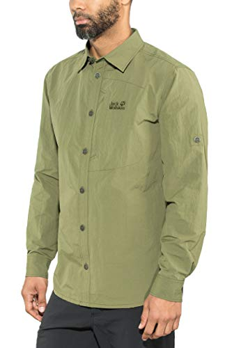 Jack Wolfskin Herren Lakeside Roll-Up Shirt Hemd, Woodland Green, XL