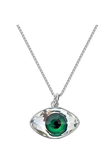 Crystals & Stones - Auge - Farbe Grün - Kette Damen mit Kristallen von Swarovski - Silber 925 Schön Damen Halskette mit Silberkette