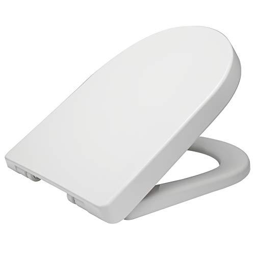 WOLTU WS2544 Copriwater Sedile WC Universale Coperchio con Chiusura Aortizzata Soft Close Toilet Seat Bagno Plastica Antibatterico Bianco WS2544