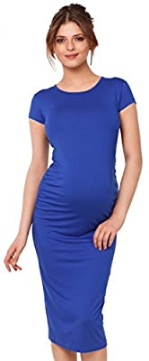 Happy Mama. Womens Maternity Stretch Bodycon Dress Short Sleeve. 183p