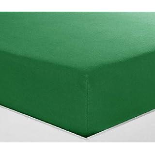 Alpes Blanc Spannbettlaken, Baumwolle, 28 cm, Spannbettlaken einfarbig, 100% Baumwolle, 57 Fäden, sehr weich, Vert Foncé/Dark Green, 90 x 190 cm