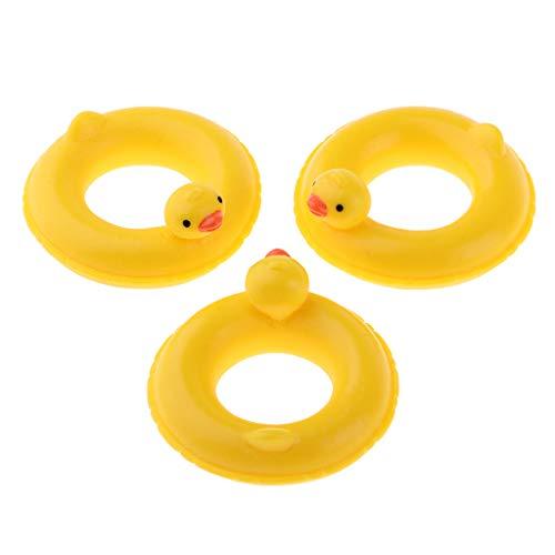KESOTO 3 STK. 1/12 Puppenhaus Mini Ente Schwimmring / Schwimmreifen aus hartem Harz - 4,5x4,5x1cm