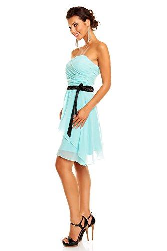 Chiffon Kleid mit Herzausschnitt und Gürtel, Cocktailkleid Abendkleid kurz Aqua