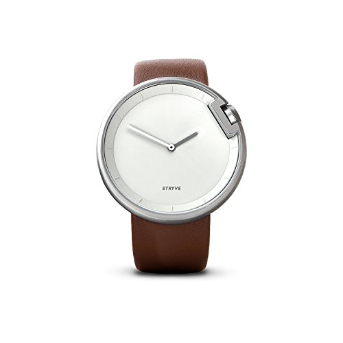 Armbanduhr STRYVE Watch Leisure, minimalistische Uhr, schlichte Uhr, Designer Armband Uhr, silber, braun (Leder Athleisure)